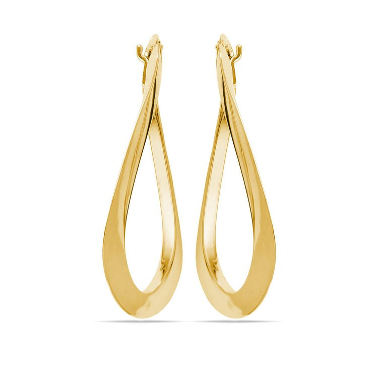 Twisted Oval Hoop Earrings in Yellow Gold | 02