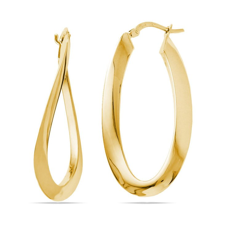 Twisted Oval Hoop Earrings in Yellow Gold | 01