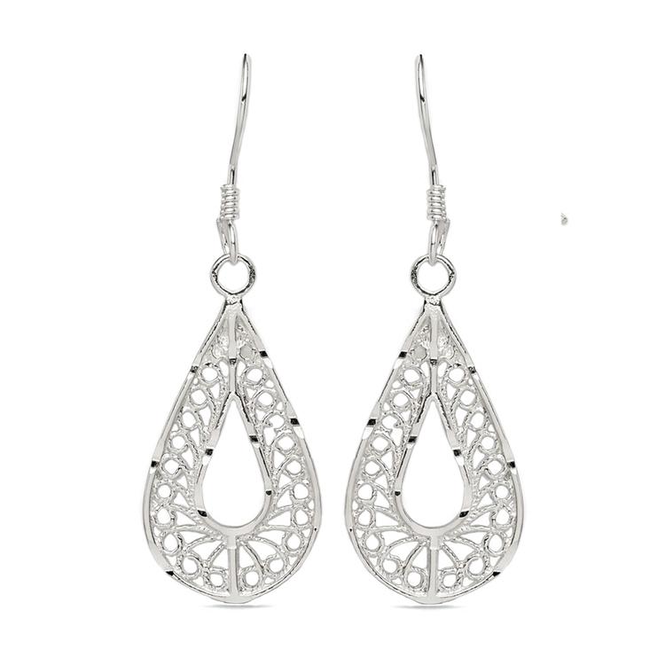Twisted Pear Filigree Earrings in Silver | 01