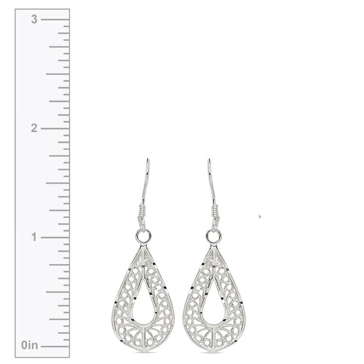 Twisted Pear Filigree Earrings in Silver | 03
