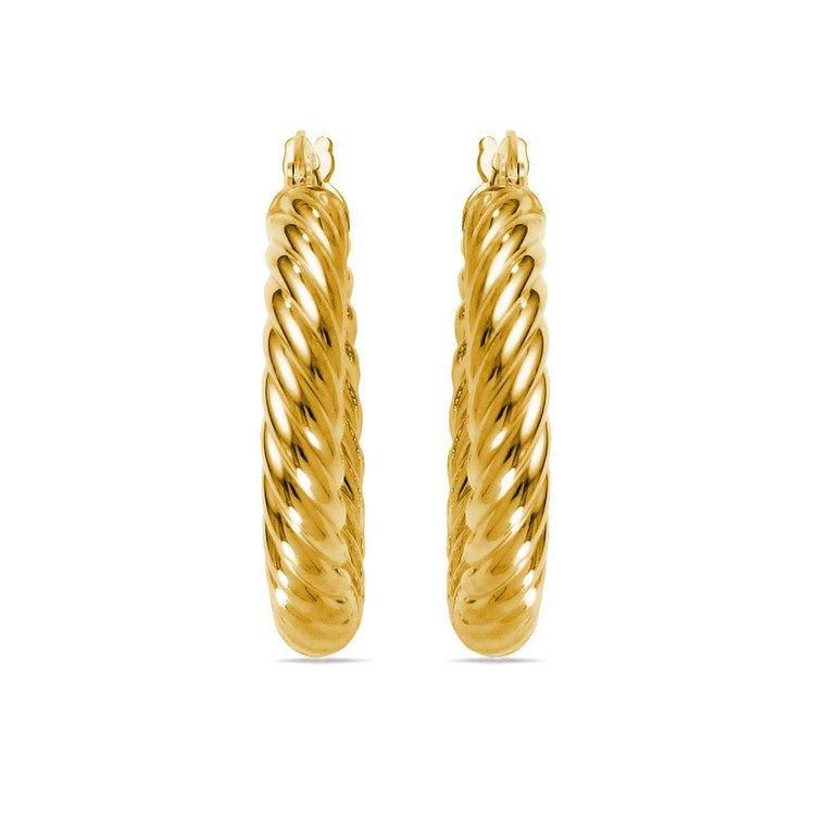 Twisted Rope Hoop Earrings in Yellow Gold | 02