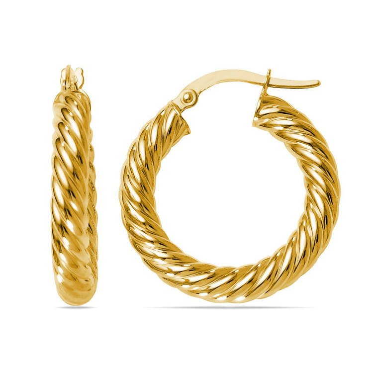 Twisted Rope Hoop Earrings in Yellow Gold