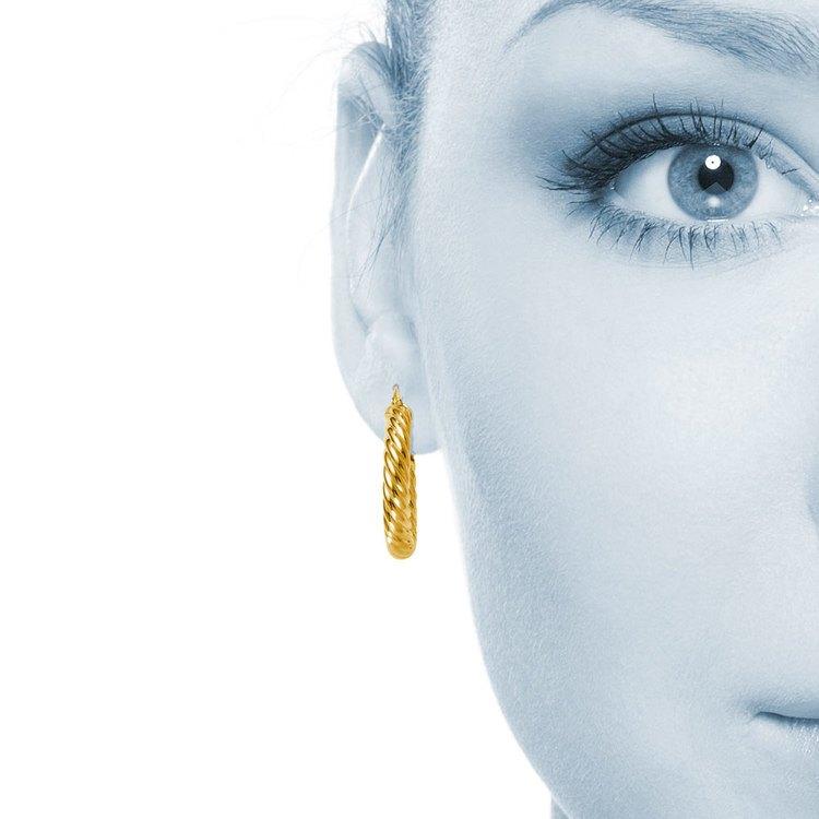 Twisted Rope Hoop Earrings in Yellow Gold | 04