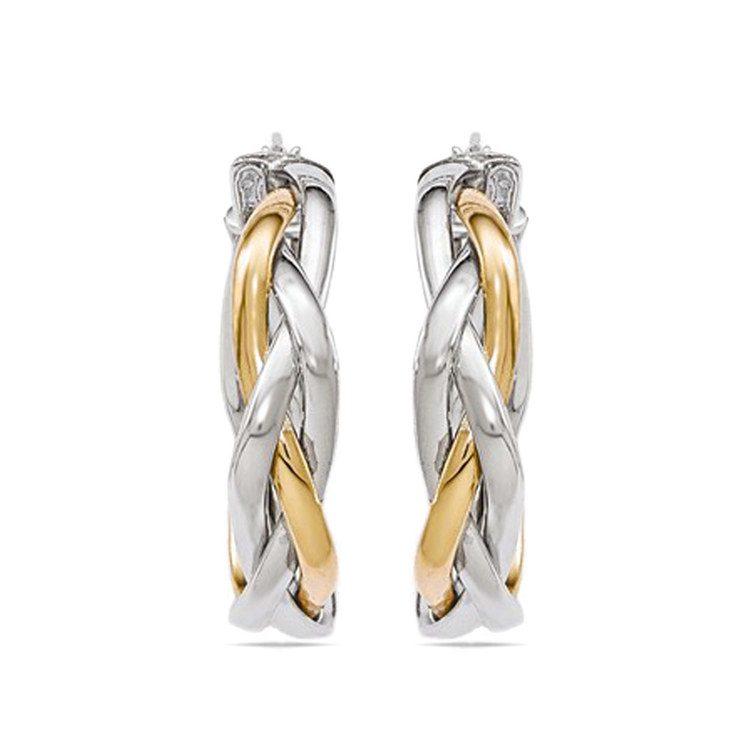 Two-Tone Braided Hoop Earrings | 02