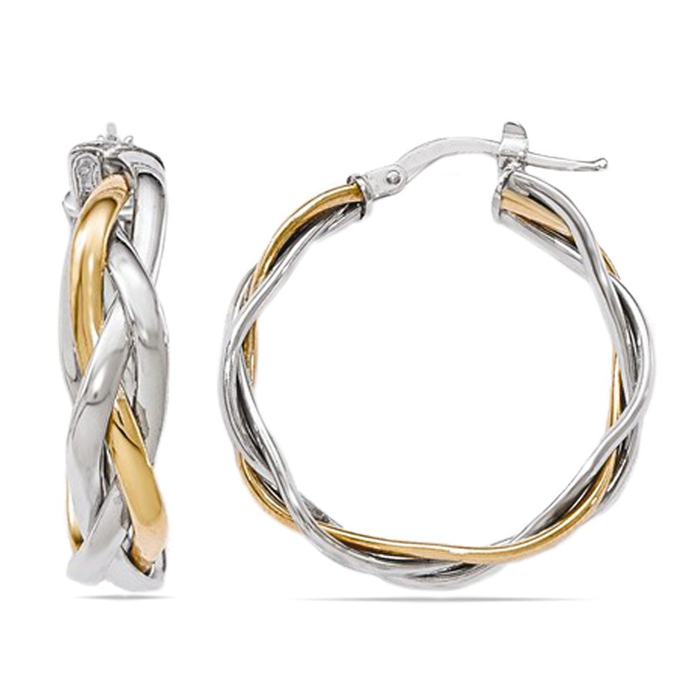 Two Tone Braided Hoop Earrings
