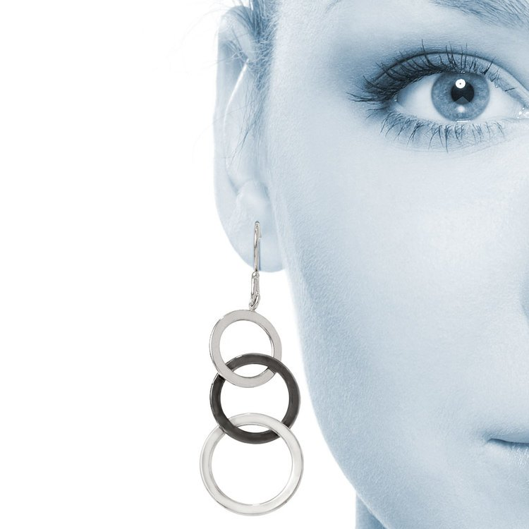 Two-tone Circle Dangle Earrings in White & Black Gold | 04