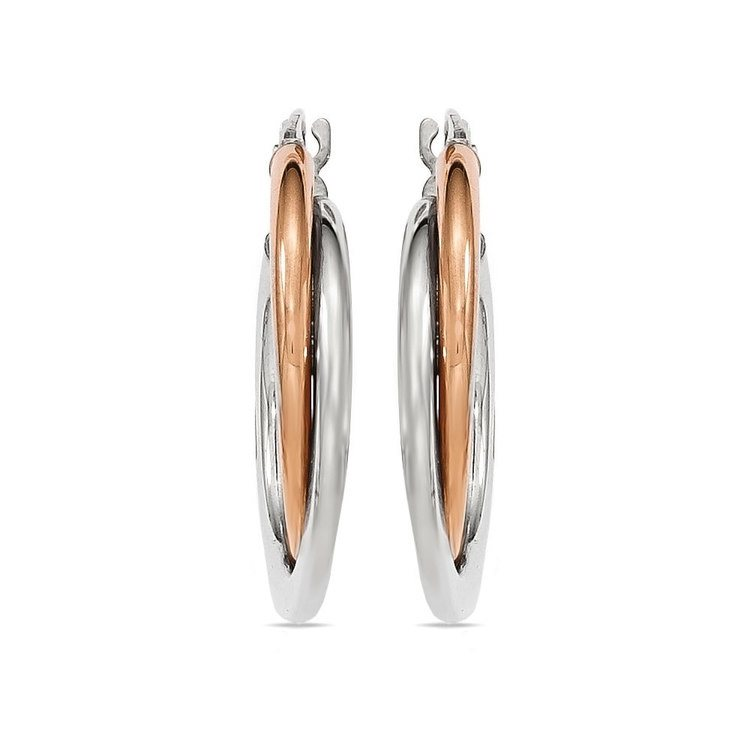 Two-tone Gold Double Hoop Earrings | 02