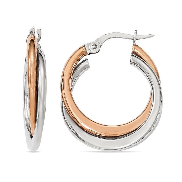 Two-tone Gold Double Hoop Earrings | 01