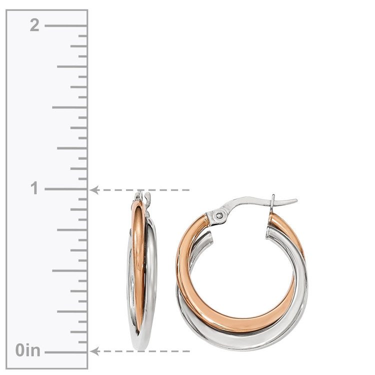 Two-tone Gold Double Hoop Earrings | 03