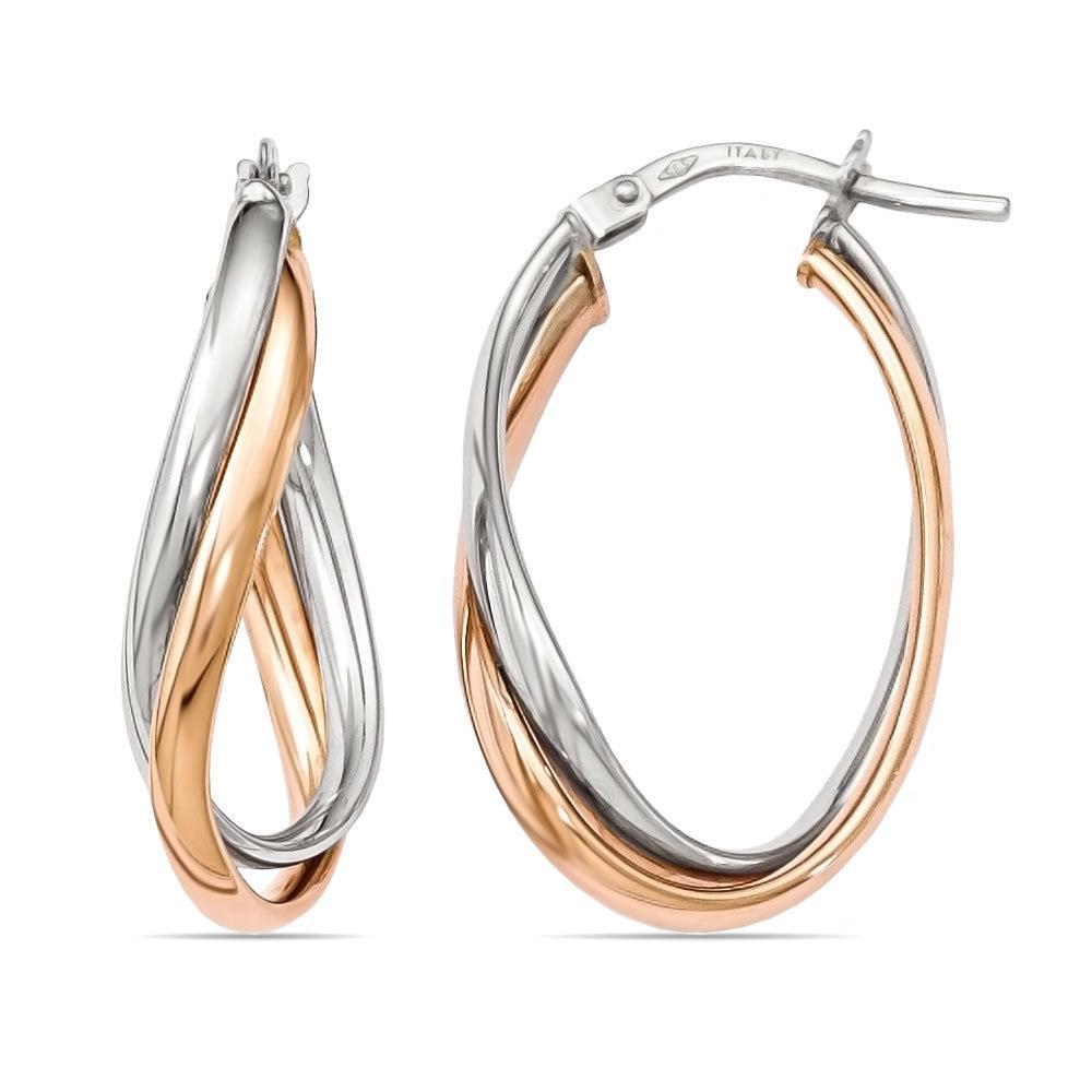 Twotone Fancy Twisted Hoop Earrings In White & Rose Gold
