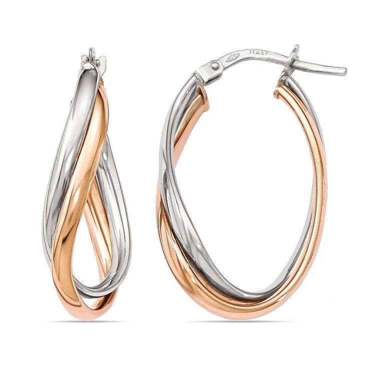 Two-tone Fancy Twisted Hoop Earrings in White & Rose Gold | 01