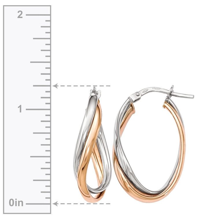 Two-tone Fancy Twisted Hoop Earrings in White & Rose Gold | 03