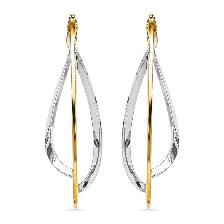 Two-tone Gold Futurism Hoop Earrings | 02