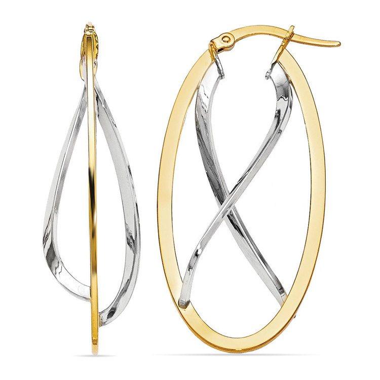 Two-tone Gold Futurism Hoop Earrings | 01