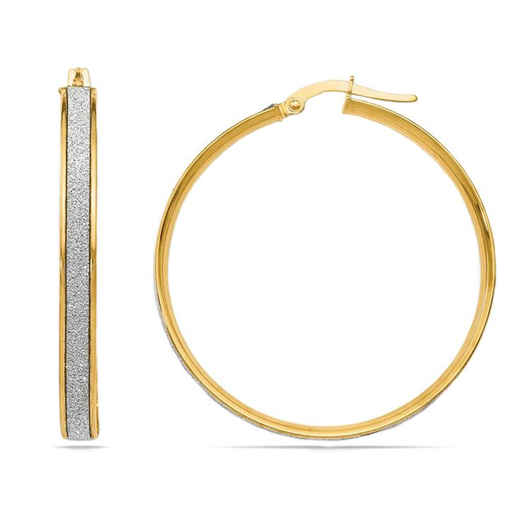Two-tone Glimmer Hoop Earrings in Yellow Gold   01