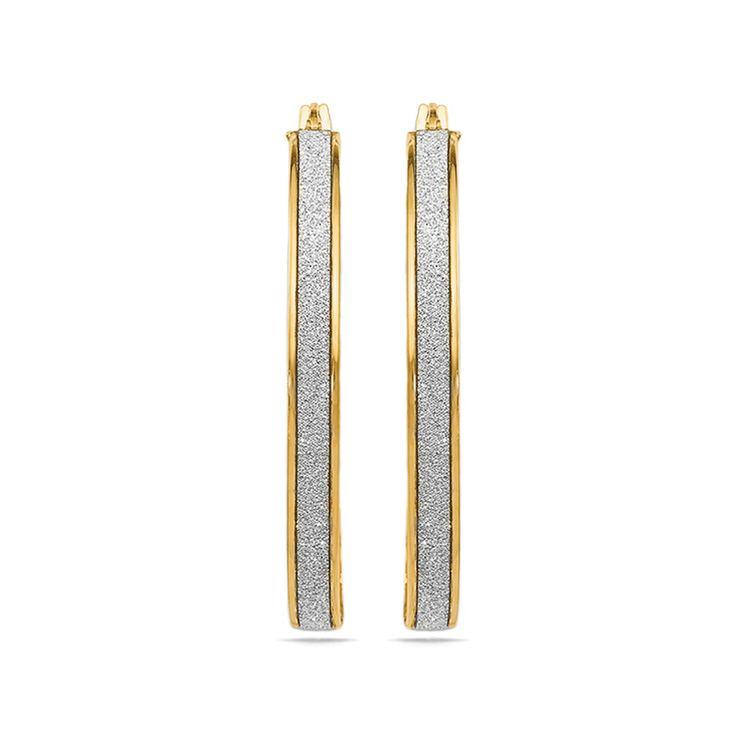 Two-tone Glimmer Hoop Earrings in Yellow Gold   02