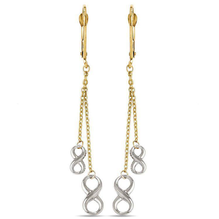Two-Tone Infinity Chain Dangle Fashion Earrings in White and Yellow Gold | 01