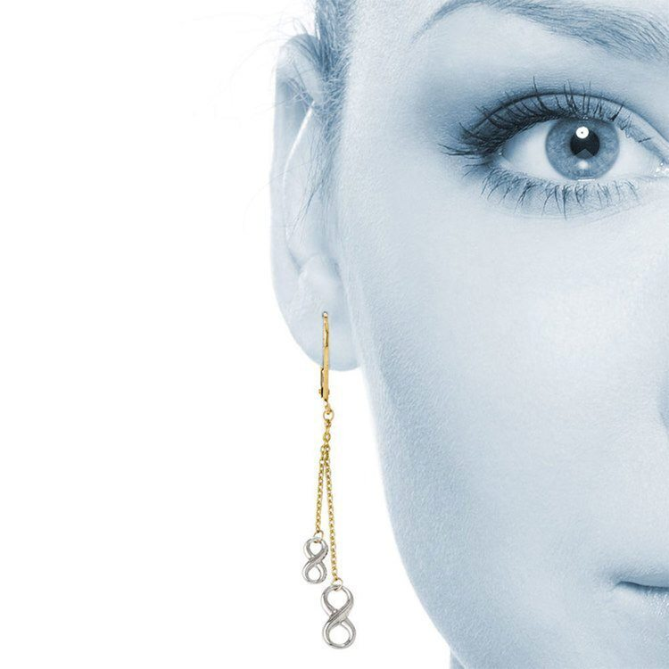 Two-Tone Infinity Chain Dangle Fashion Earrings in White and Yellow Gold | 02