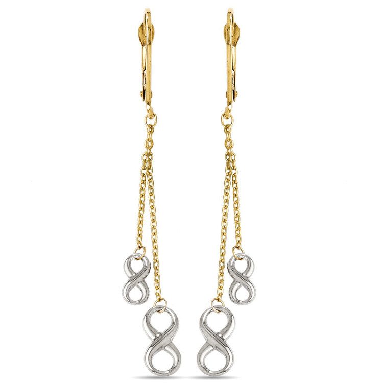 Two-tone Infinity Chain Dangle Earrings in White & Yellow Gold | 01