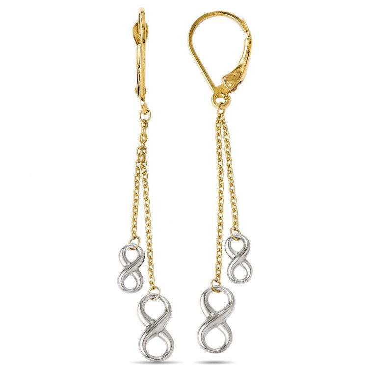 Two-tone Infinity Chain Dangle Earrings in White & Yellow Gold | 02