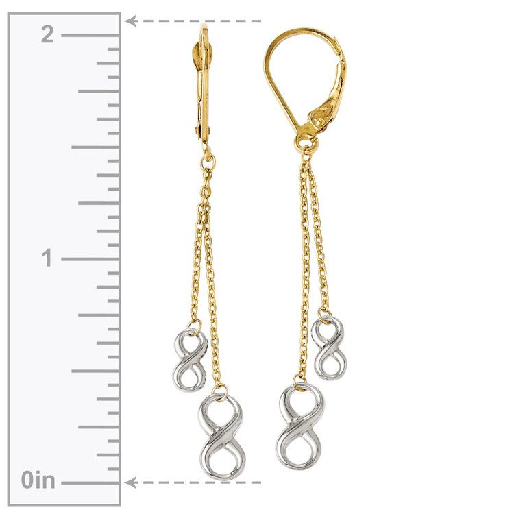 Two-tone Infinity Chain Dangle Earrings in White & Yellow Gold | 03