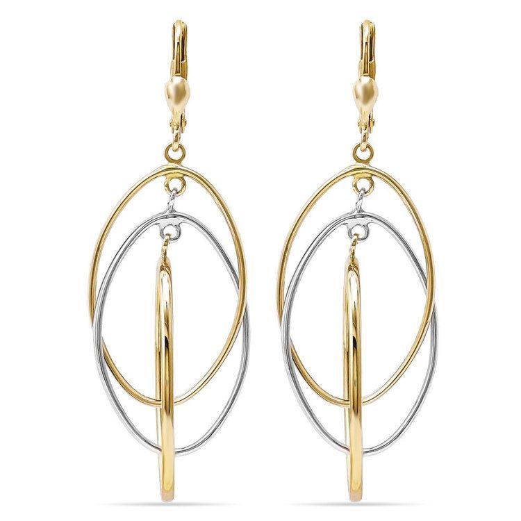 Two-tone Interlocking Dangle Earrings in White & Yellow Gold | 01
