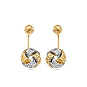 Two-Tone Love Knot Front and Back Earrings