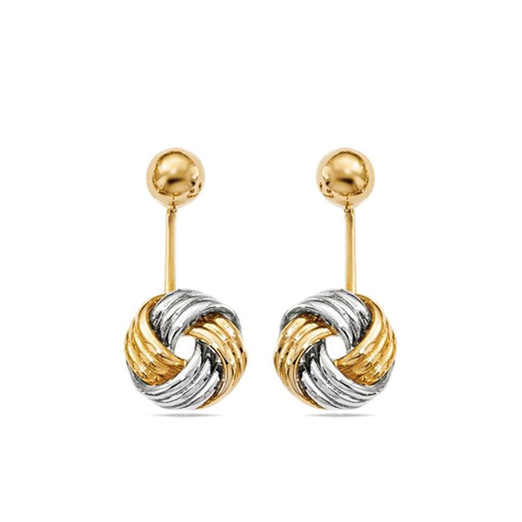 Two-Tone Love Knot Front and Back Earrings | 01
