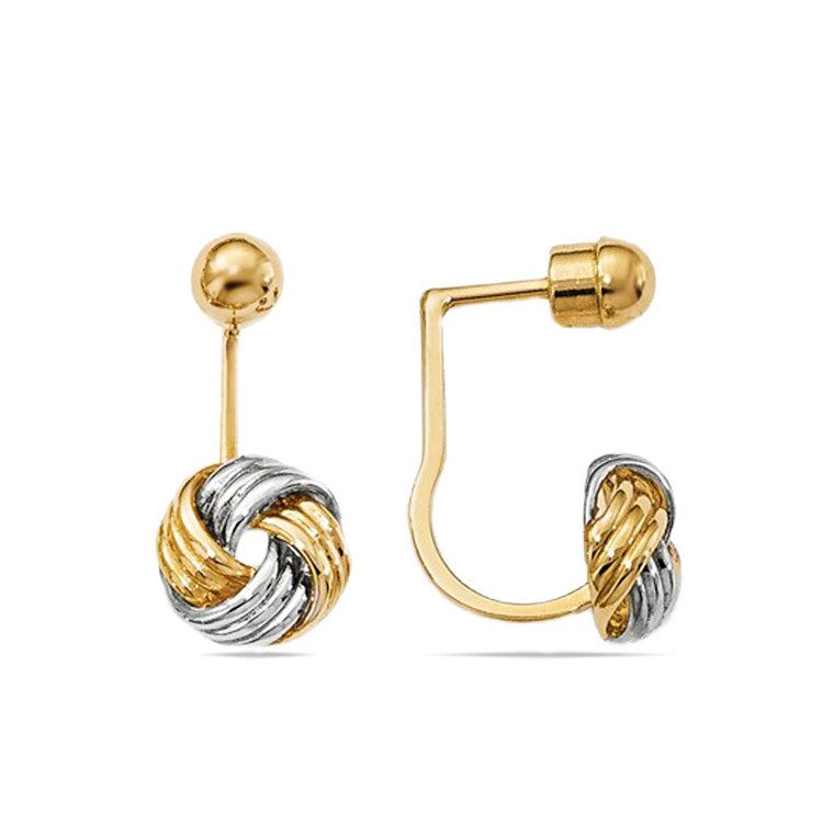 Two-Tone Love Knot Front and Back Earrings | 02