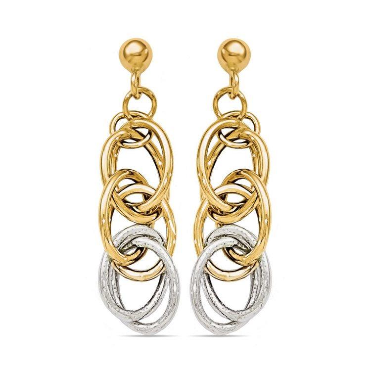 Two-tone Oblong Chain Dangle Earrings in White & Yellow Gold | 01