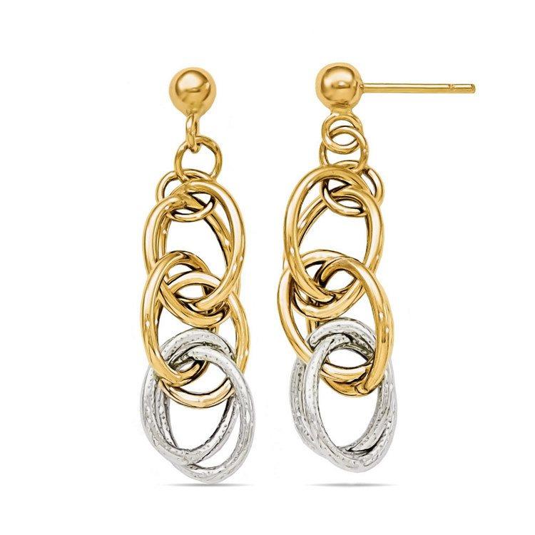 Two-tone Oblong Chain Dangle Earrings in White & Yellow Gold | 02