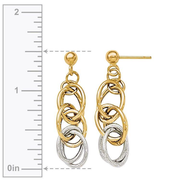 Two-tone Oblong Chain Dangle Earrings in White & Yellow Gold | 03