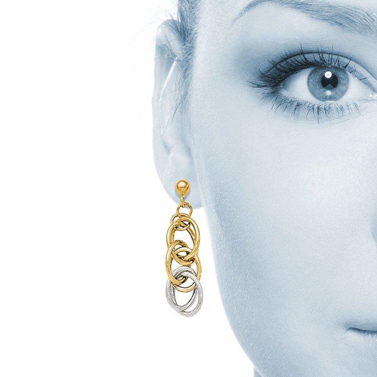 Two-tone Oblong Chain Dangle Earrings in White & Yellow Gold | 04