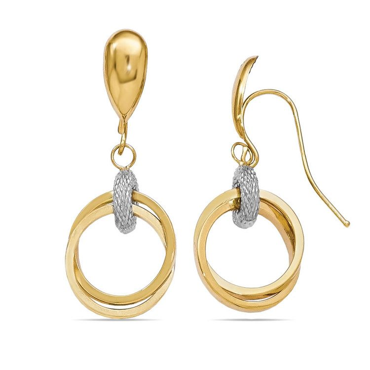 Two-tone Shepherd Hook Dangle Earrings in White & Yellow Gold | 02