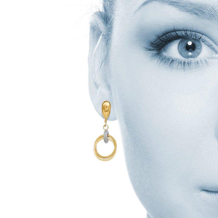 Two-tone Shepherd Hook Dangle Earrings in White & Yellow Gold | 04