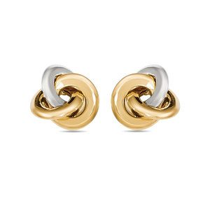Two-tone Smooth Love Knot Stud Earrings in White & Yellow Gold