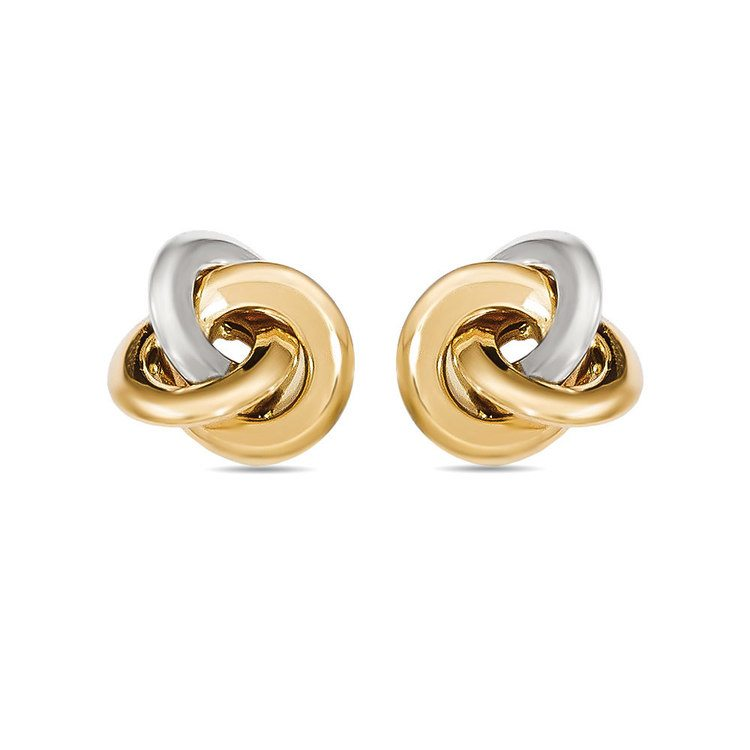 Two-tone Smooth Love Knot Stud Earrings in White & Yellow Gold | 01