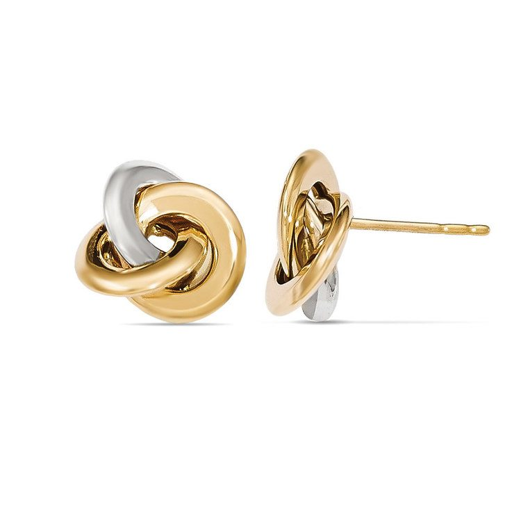 Two-tone Smooth Love Knot Stud Earrings in White & Yellow Gold | 02