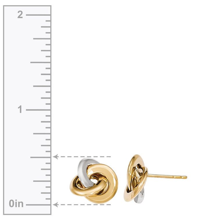 Two-tone Smooth Love Knot Stud Earrings in White & Yellow Gold | 03