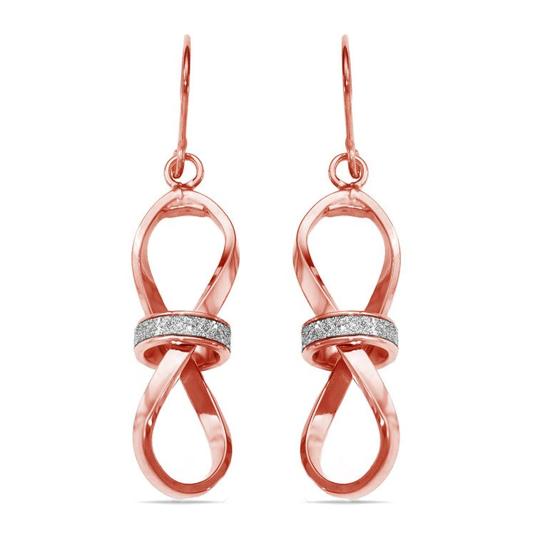 Two-tone Sparkling Infinity Dangle Earrings in Rose & White Gold | 01