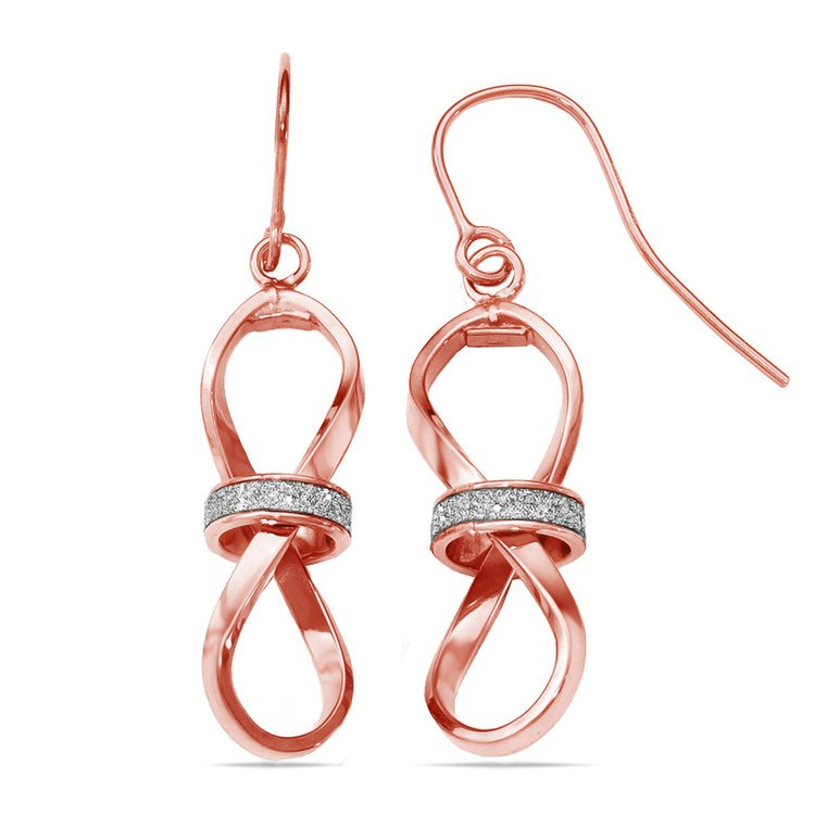Two-tone Sparkling Infinity Dangle Earrings in Rose & White Gold | 02
