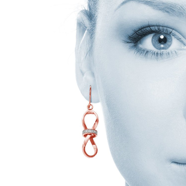Two-tone Sparkling Infinity Dangle Earrings in Rose & White Gold | 04