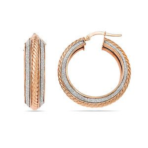 Two-tone Sparkling Rope Hoop Earrings in White & Rose Gold