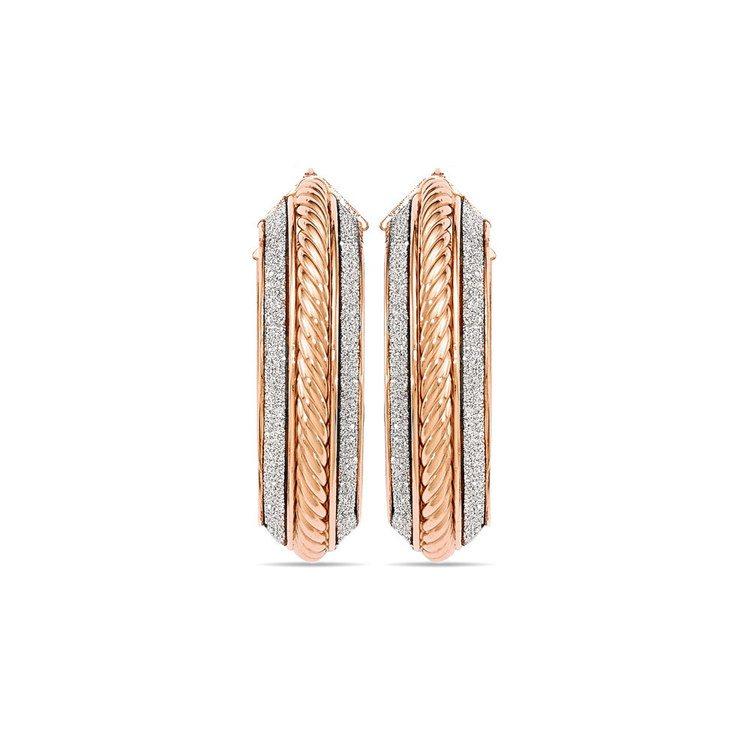 Two-tone Sparkling Rope Hoop Earrings in White & Rose Gold | 02
