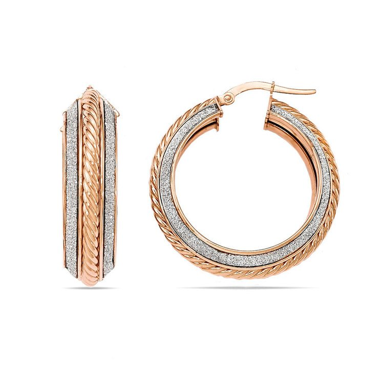 Two-tone Sparkling Rope Hoop Earrings in White & Rose Gold | 01