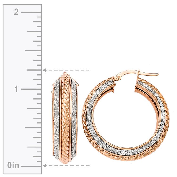 Two-tone Sparkling Rope Hoop Earrings in White & Rose Gold | 03
