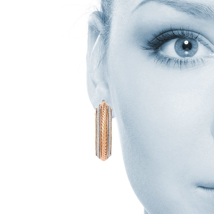 Two-tone Sparkling Rope Hoop Earrings in White & Rose Gold | 04