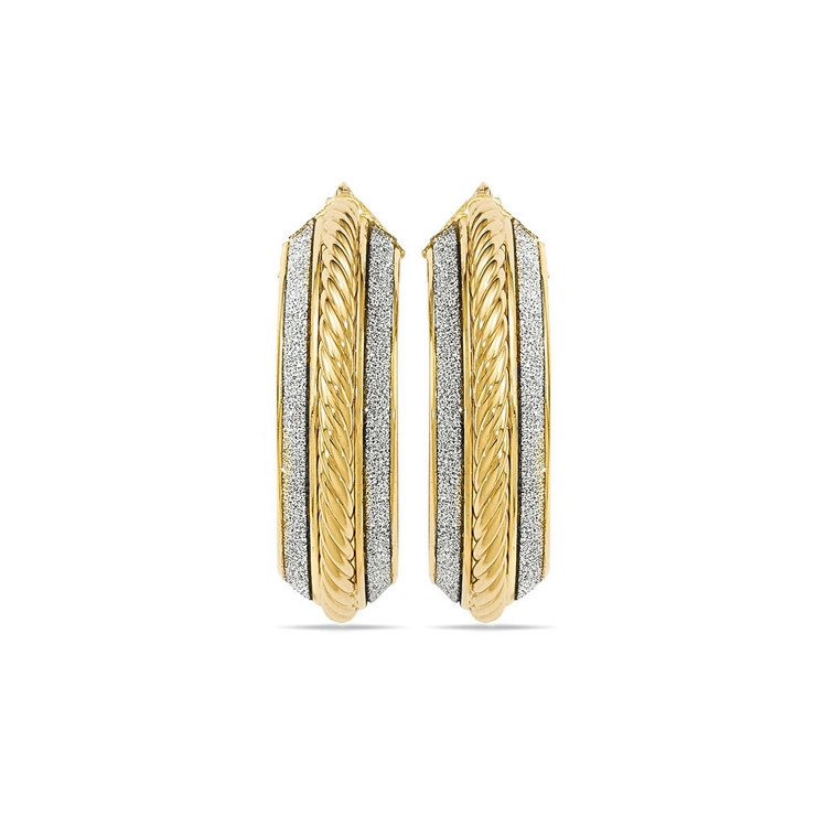 Two-tone Sparkling Rope Hoop Earrings in White & Yellow Gold | 02