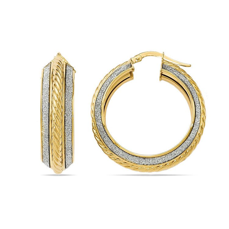 Two-tone Sparkling Rope Hoop Earrings in White & Yellow Gold | 01