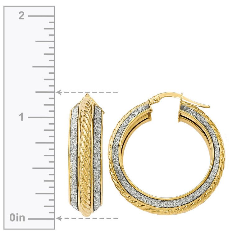 Two-tone Sparkling Rope Hoop Earrings in White & Yellow Gold | 03